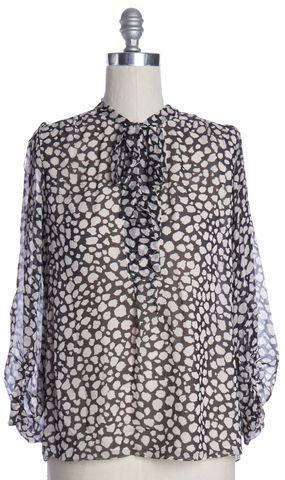 DIANE VON FURSTENBERG Black Beige Silk Bairly Louchie Top Size 10