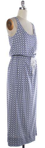 DIANE VON FURSTENBERG White Blue Print Maxi Dress Size 6