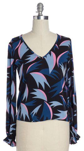 DIANE VON FURSTENBERG Blue Pink Black Graphic Long Sleeve Blouse Size 6