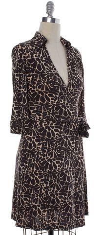 DIANE VON FURSTENBERG Brown Print Silk Wrap Dress Size 6