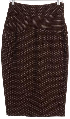 DIANE VON FURSTENBERG Brown Polka Dot Wool Marple Pencil Skirt Size 8
