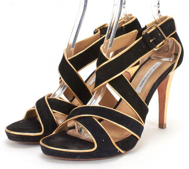 DIANE VON FURSTENBERG Black Gold Suede Leather Platform Heeled Sandals