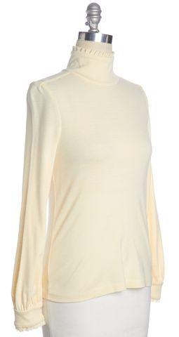DIANE VON FURSTENBERG Cream White Wool Donovan Long Sleeve Top Size 8