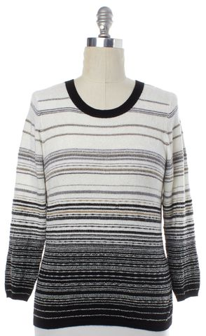 DIANE VON FURSTENBERG Black White Gray Gold Striped Wool Top Size L