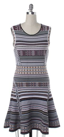 DIANE VON FURSTENBERG White Purple Multi Eleanor Fit & Flare Knit Dress Size L