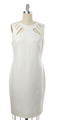 DIANE VON FURSTENBERG White Cut Out Sleeveless Sheath Dress Size 12