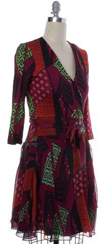 DIANE VON FURSTENBERG Red Multi-Color Geometric Print Silk Wrap Dress Size 8