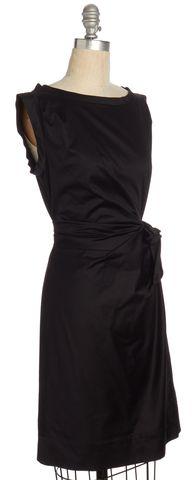 DIANE VON FURSTENBERG Black Della Drape Sheath Dress Size 2