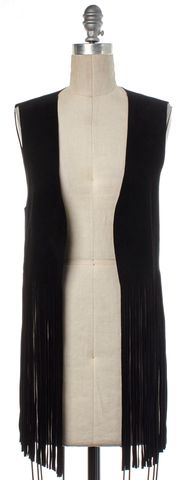 DIANE VON FURSTENBERG Black Leather Anca Vest Size S