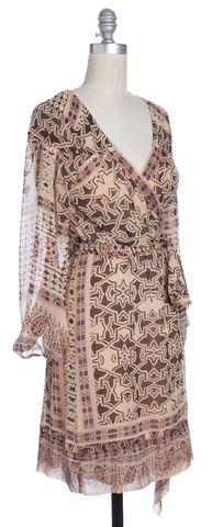 DIANE VON FURSTENBERG Brown Print Silk Philomina Wrap Dress Size 2