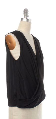 DIANE VON FURSTENBERG Black Silk New Issie Two Sleeveless Wrap Top Size 4