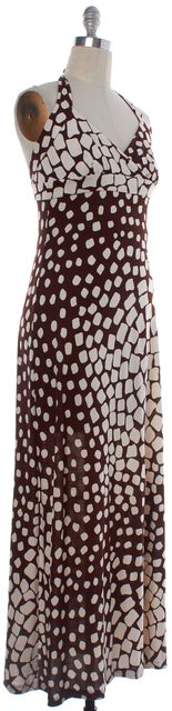 DIANE VON FURSTENBERG Brown Beige Abstract Silk Halter Maxi Dress