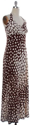 DIANE VON FURSTENBERG Brown Beige Abstract Silk Halter Maxi Dress Size 8