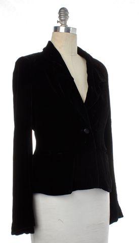 DIANE VON FURSTENBERG Black Velvet Embellished Blazer Size 8