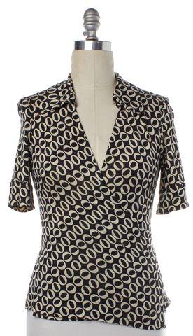DIANE VON FURSTENBERG Black Ivory Geometric Silk Jillianna Wrap Top Size 8