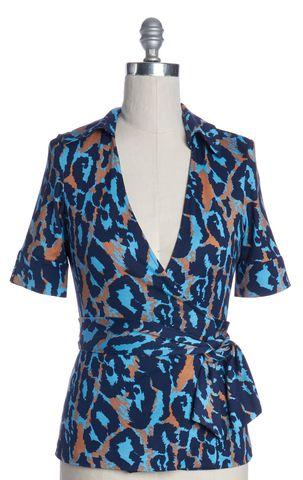 DIANE VON FURSTENBERG Blue Orange Silk Jillianna Wrap Top Size P