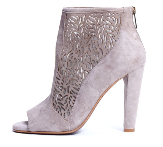 DIANE VON FURSTENBERG Taupe Gray Suede Laser Cut Open Toe Ankle Boots