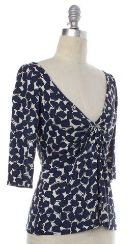 DIANE VON FURSTENBERG Blue White Print 3/4 Sleeve Silk Shirt Size 4