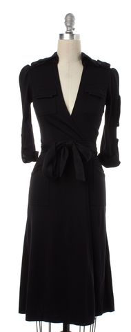 DIANE VON FURSTENBERG Black Wool Wrap Dress Size 0