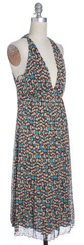 DIANE VON FURSTENBERG Brown Blue Abstract Print Silk Shift Dress Size 4