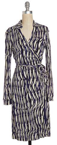 DIANE VON FURSTENBERG Blue Black Abstract Silk New Jeanne Two Wrap Dress Size 6