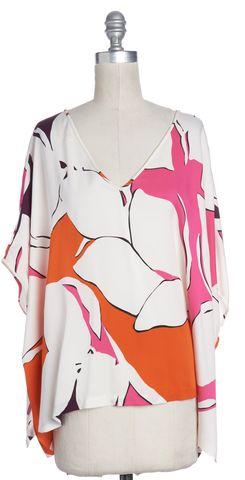 DIANE VON FURSTENBERG White Pink Orange Floral Silk DVF Adria Blouse Size S