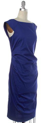 DIANE VON FURSTENBERG Blue Ruched Gabi Shift Dress Size 6