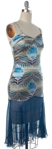 DIANE VON FURSTENBERG Blue Green Print Silk Sheath Dress Size 4