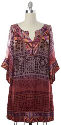 DIANE VON FURSTENBERG Purple Red Floral Silk Tabalah Shift Dress Size 8