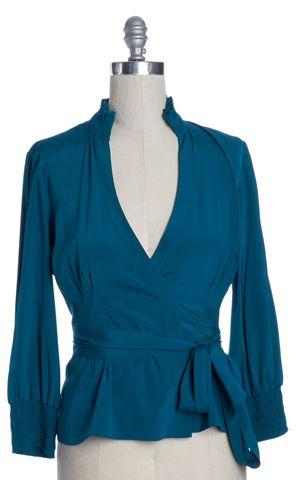 DIANE VON FURSTENBERG Teal Blue Silk Graciela Wrap Top Size 10
