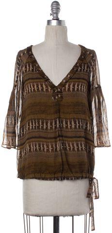 DIANE VON FURSTENBERG Brown Abstract Print Silk Chiara Blouse Size 0