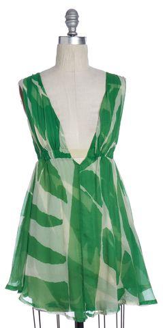 DIANE VON FURSTENBERG Green Abstract Silk Empire Waist Dress Size 2
