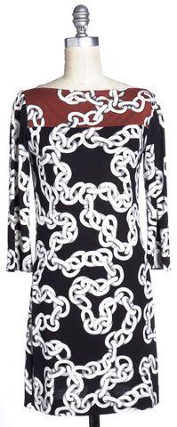 DIANE VON FURSTENBERG Black Red Silk Ruri Sheath Dress Size 0