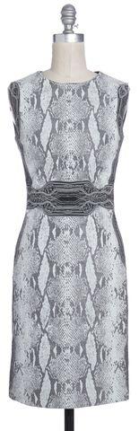 DIANE VON FURSTENBERG Gray Animal Print Bey Sleeveless Sheath Dress Size 0