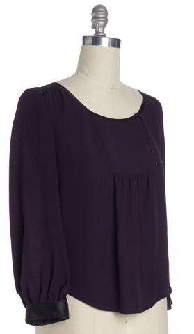DIANE VON FURSTENBERG Purple Silk Laos Peasant Blouse Size 8