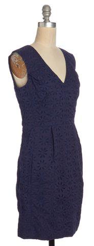 DIANE VON FURSTENBERG Navy Blue Fumi Burst Lace Eyelet Sheath Dress Size 4
