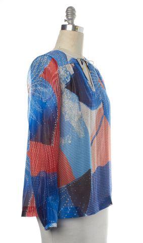DIANE VON FURSTENBERG NEW Blue Orange Abstract Silk Jana Silver Foil Top Size 6
