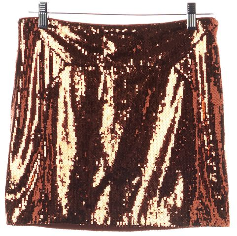 DIANE VON FURSTENBERG Orange Bronze Sequin Kawa Mini Skirt Size 4