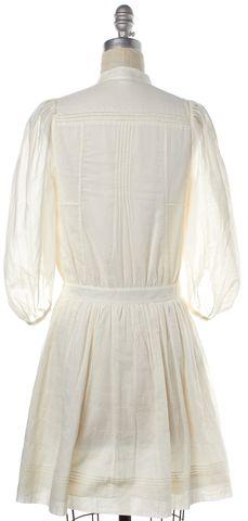 DIANE VON FURSTENBERG White Button Down Cotton  Shirt Dress Size 2