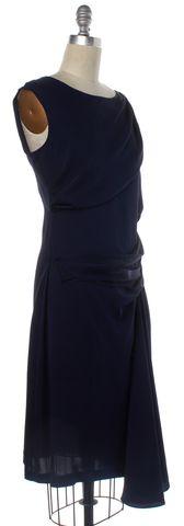 DIANE VON FURSTENBERG Navy Blue Silk Sheath Dress Size 8