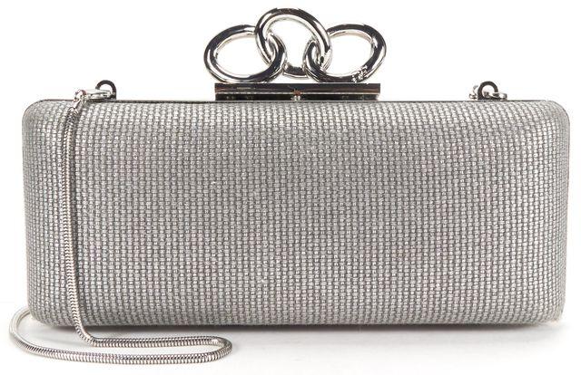 DIANE VON FURSTENBERG Authentic Silver Leather Sutra Metallic Canvas Clutch Bag