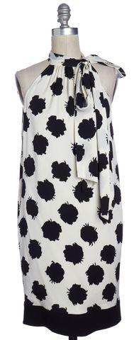 DIANE VON FURSTENBERG Black White Abstract Silk Hermione Halter Dress Size 0