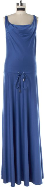DIANE VON FURSTENBERG Blue Silk Drawstring Waist Full Length Dress