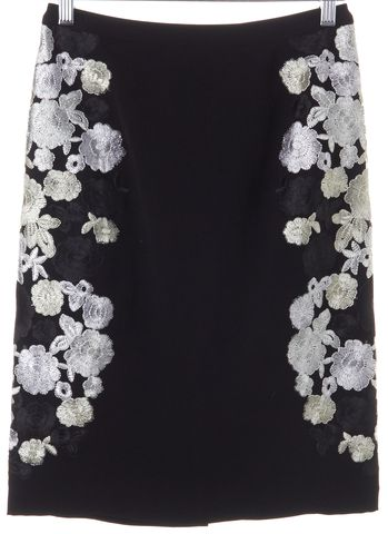DIANE VON FURSTENBERG Black Floral Embroidered Hillaria Straight Skirt Size 0