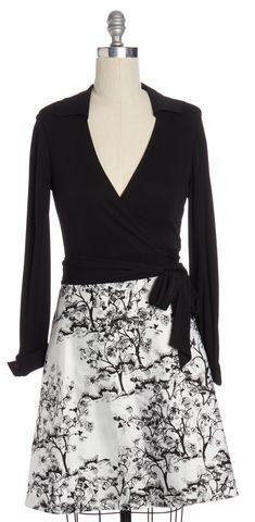DIANE VON FURSTENBERG Black White Printed Amelianna Wrap Dress Size 8