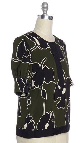 DIANE VON FURSTENBERG Olive Green Black Floral Silk Trice Blouse Size 6
