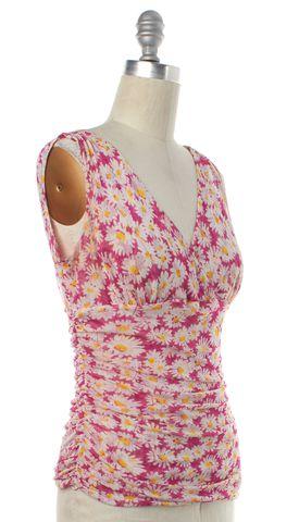 DIANE VON FURSTENBERG Pink Sunflower Floral Silk Eunice Knit Top Size M