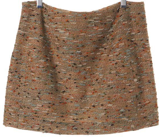 DIANE VON FURSTENBERG Beige Orange Tweed Kawa Mini Skirt Size 2