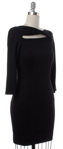 DIANE VON FURSTENBERG Black Wool Cutout Slashed Arita Bodycon Dress