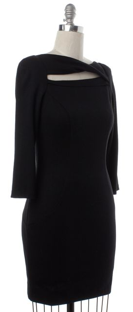 DIANE VON FURSTENBERG Black Wool Cutout Slashed Arita Bodycon Dress
